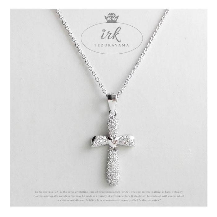 ネックレス レディース ハート クロス 十字架 金属アレルギー シルバー925 プラチナ CZダイヤ(キュービックジルコニア)